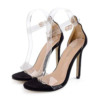 c7ae5dc0d786a2 Femme Talons Hauts Open Toe Sandales Transparent Cheville Boucle Lacer  Chaussures À Talon Été Femmes Chaussures