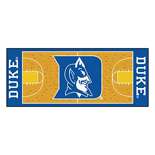FANMATS 8171 NCAA Duke University Blue Devils Nylon Face Basketball Court Runner , Team Color , 30