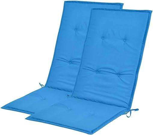 vidaXL 2X Cojines para Sillas Jardín 120x50x3 cm Azul Almohada Almohadón Patio: Amazon.es: Hogar