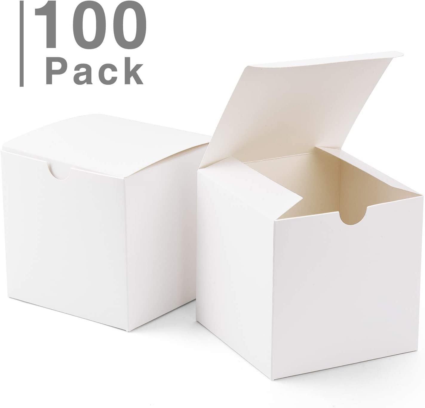 Cupcake Boxes ValBox 4x4x4 White Gift Boxes 25PCS Kraft Paper Boxes with Lids for Gifts Crafting Cube Easy Assemble Boxes for Party Favor