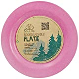 "EcoSoulife EBW11002P 8"" Bamboo Side Plate (P)-Biodegradable and Reusable Pink"