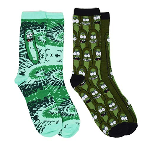 Rick And Morty Pickle Rick Tye Die Men's Casual Crew Socks from RICK AND MORTY