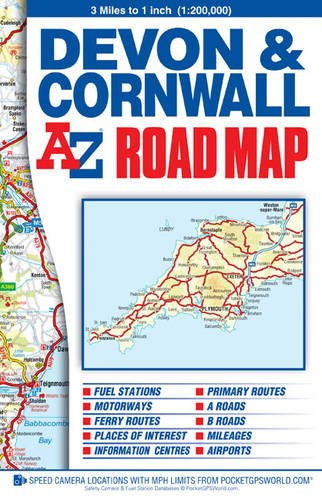 Devon & Cornwall Road Map (A-Z Road Map)