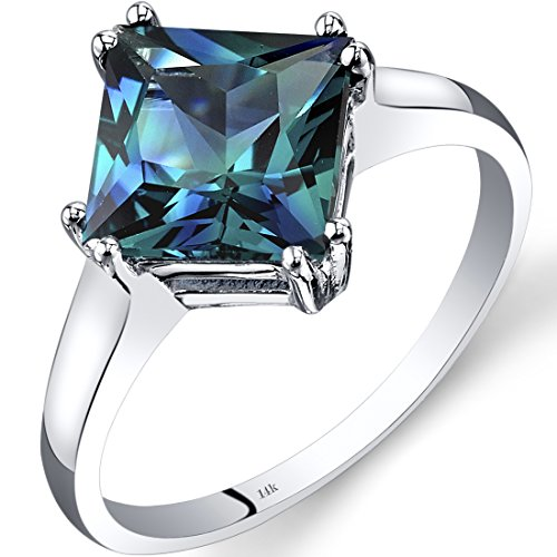 14K White Gold Created Alexandrite Princess Cut Ring 2.75 Carats Size 5