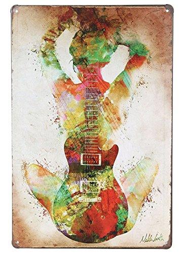 ERLOOD Music Guitar Girl Retro Vintage Tin Sign 12 x8