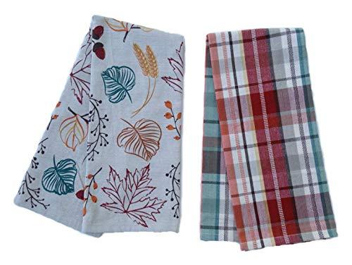 DII Kitchen Dish Towel Set 2 Autumn Leaves and Harvest Plaid