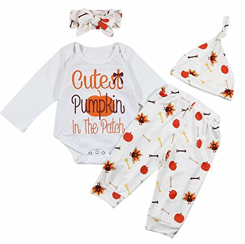 Halloween Costume Baby Cutest Pumpkin in The Patch Romper Tops+Pants Outfit Set Size 6-12 Months/Tag80 (White) ()