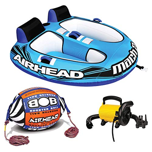 Kwik Tek Airhead AHM2-2 Mach 2 Inflatable 2 Rider Towable Tube with Buoy Tow Rope & Pump ()