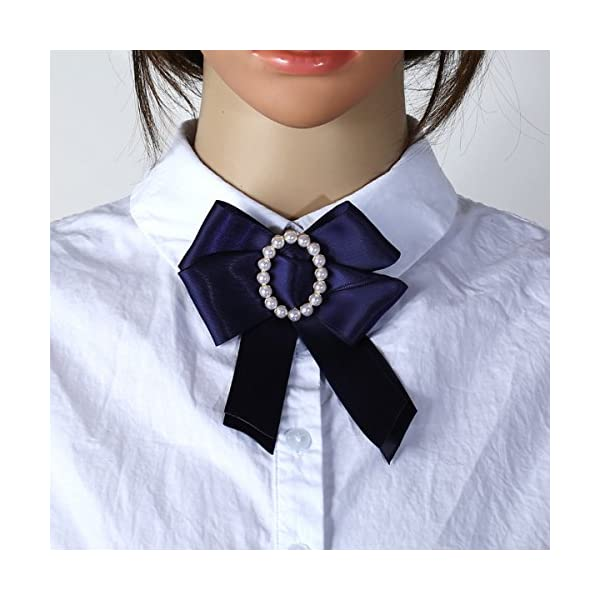 ZOONAI Women Ribbon Bowknot Brooch Pin Rhinestone Pre Neck Tie Wedding Party Bow Tie