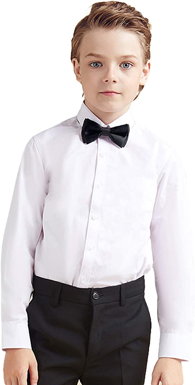 Camisa de niño de Manga Larga con moño Camisa Oxford Blanca para Niño Slim Fit: Amazon.es: Ropa y accesorios