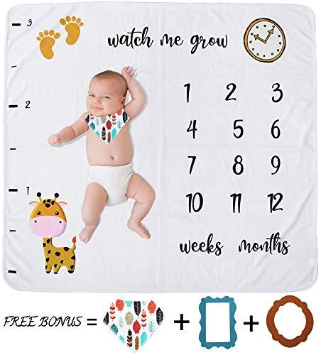 Kanva Design Baby Monthly Milestone Blanket | Unisex Watch me Grow Thick Fleece Blanket | Baby Shower Gift for Moms | 43