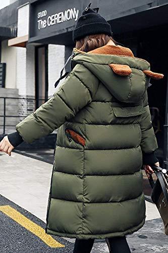Invierno Cremallera Con Acolchada Hipster Laterales Bolsillos Largos Colour De Parkas Unicolor Chaqueta Mujer 6 Transición Abrigo Manga Cordón Retro Capucha Capa Larga EwzqSx