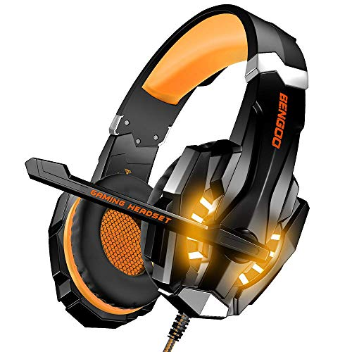 BENGOO Gaming Headset for PS4, PC, Xbox One Controller, Stereo Surround Sound Over Ear Headphones with USB 2.0 Extension Cable, Mic, LED Light, Soft Memory Earmuffs for Mac (Orange)