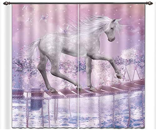 LB Teen Kids Girls Unicorn Decor Room Darkening Blackout Window Curtains for Living Room Bedroom,Unicorns Go The Canoe Fantasy Window Treatment 3D Window Drapes 2 Panels Set,42 x 63 Inches