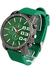 ShoppeWatch Mens Large Face Watch Unisex Silicone Band Reloj para Hombre Green Dial SW1091GR