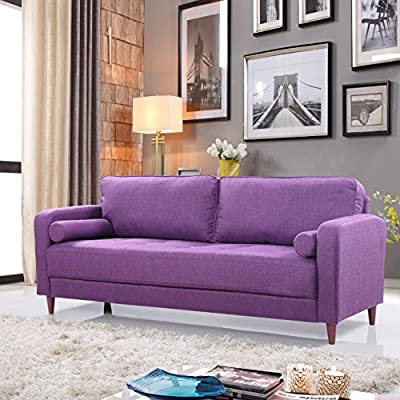 Mid Century Modern Linen Fabric Living Room Sofa (Purple) - Mid-century modern living room sofa in soft and bright color variances Features hand picked soft linen fabric upholstery with 4 mid-century style wooden legs Comfortable yet firm seat stuffed with high density memory foam - sofas-couches, living-room-furniture, living-room - 51OM%2BpHtZZL. SS400  -