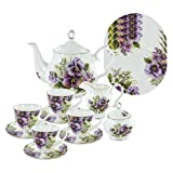 Purple Pansy Bone China Tea Set (With 4 Dessert Plates)