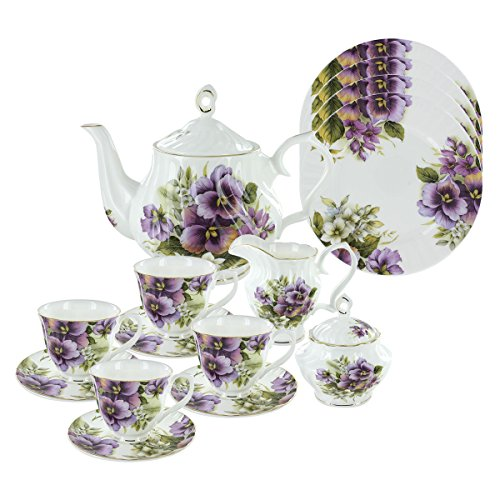 (Purple Pansy Bone China Tea Set (With 4 Dessert Plates))