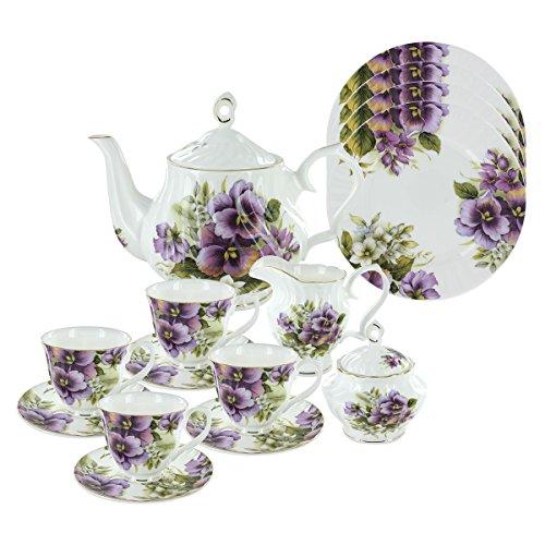 Purple Pansy Bone China Tea Set (With 4 Dessert Plates)