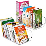 Vtopmart Food Packet Organizer Bins for Pantry Organization and Storage, 2 Pack Clear Plastic Holder for Organizing Seasoning Packets, Spice Packets, Pouches, Snacks in Kitchen or Cabinets