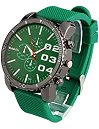 Mens Large Face Watch Unisex Silicone Band Reloj Para Hombre Green Dial SW1091GR