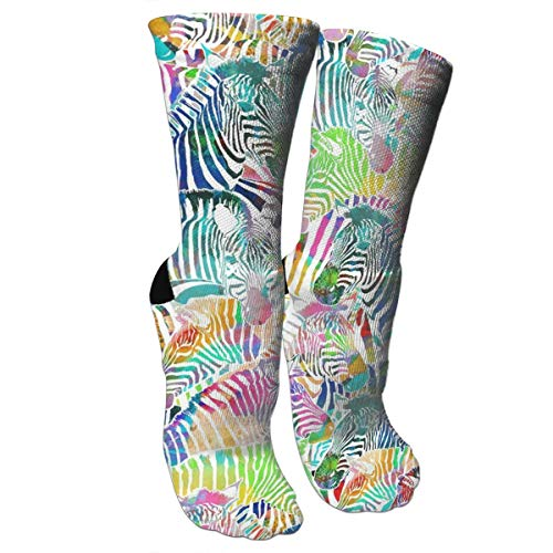 New Zebra Rainbow Fashion Stylish Knee High Socks for Women and Men-Fitness Novelty Crew Athletic Socks Comfortable Knee High Sock