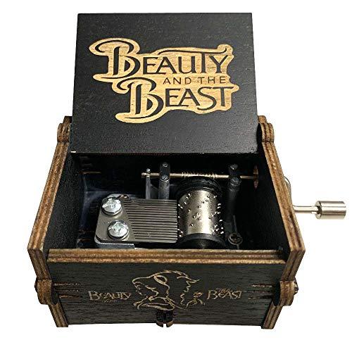 Pursuestar Black Wood Hand Crank Laser Engraved Vintage Wooden Music Box Wedding Valentine Christmas Birthday Musical Gift - Beauty and The Beast