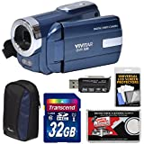 Vivitar DVR-508 HD Digital Video Camera Camcorder (Blue) with 32GB Card + Case + Kit