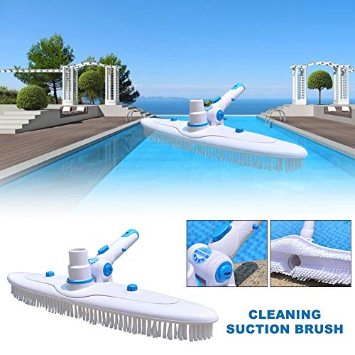 (CHERRYSONG Pool Brush,18-inch Deluxe Swimming Pool Wall Brush High Cleaning Efficiency Tools Aluminum Handle for Pond Spa Hot Spring Pools,Blue/White )