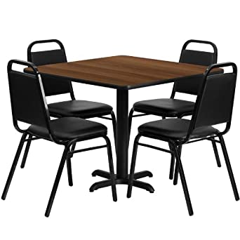 Amazoncom Square Walnut Laminate Top Restaurant Table Set - 4 top restaurant table