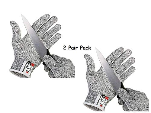 2 Pairs- Protection Cut Resistant Hand Safety with 5 Level Protection from Knives, Cut Proof Gloves Industry, Sharp Items, Gardening, and Cutting Vegetable/Fruits for Kitchen Multipurpose Gloves (B07QTK4D6X) Amazon Price History, Amazon Price Tracker