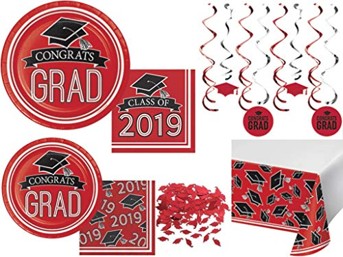 Class of 2019 Graduation School Spirit Classic Red, Black & White Party Tableware & Decorations for 36 Guests