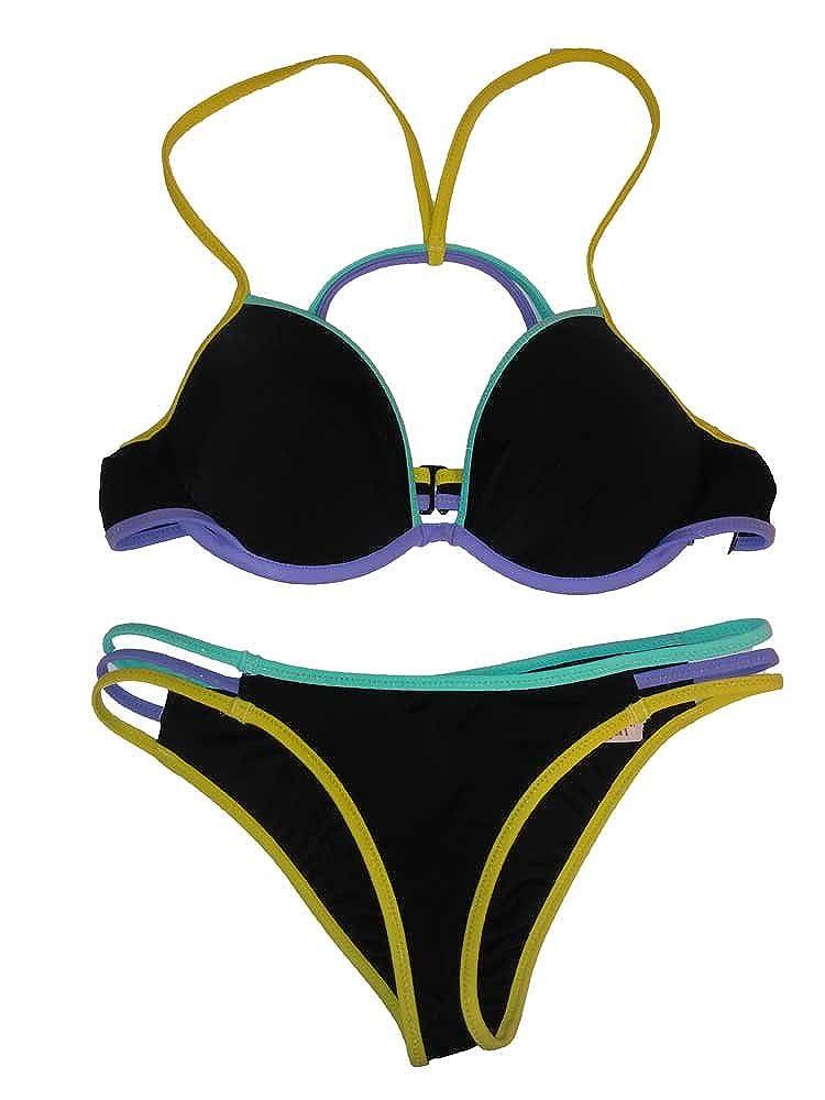 8f1a8c8c56443 Amazon.com: Victoria's Secret 2PC Swimsuit Bikini Set Black/Multi Fabolous Cheeky  Set 34B-XS: Clothing