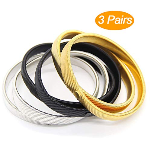 Coolrunner 6 Pcs Anti-slip Elastic Shirt Sleeve Holders Metal Armbands for Band Stretch Garters