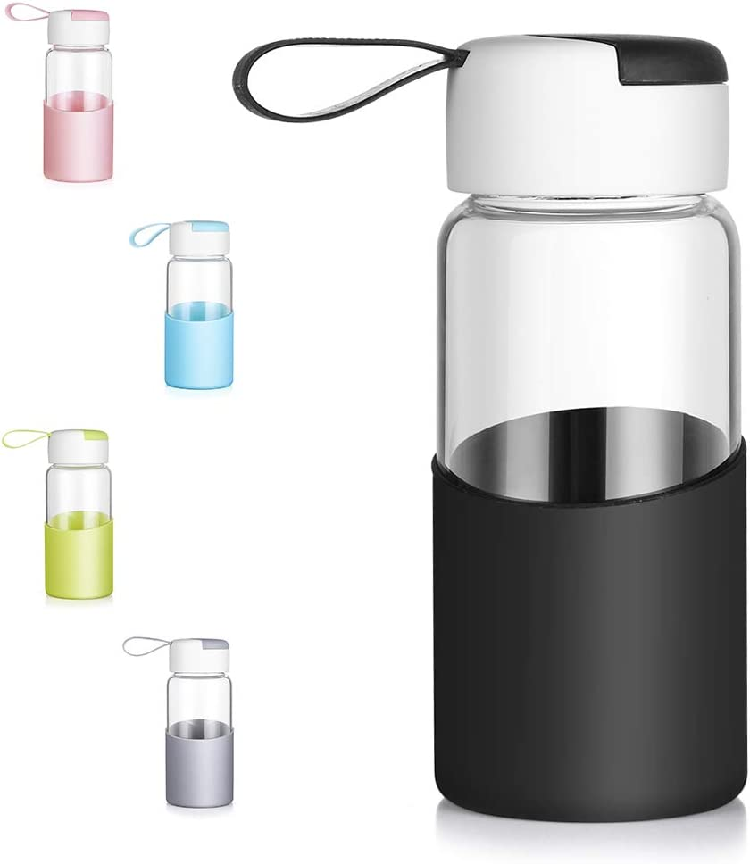 Office ZDZDZ Glass Water Bottle 19 Oz Glass Water Container with Bamboo Lid and Silicone Sleeve Outdoor Sport BPA-Free Wide Mouth Water Drinking Bottle Travel Mug Great for School