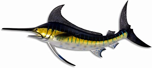 Hand Painted Jumbo Striped Blue Marlin Salt Walter Game Fish Wall Mount Decor Plaque 48″