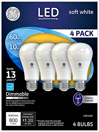 GE White Warm 10 Watt A19 Dimmable LED