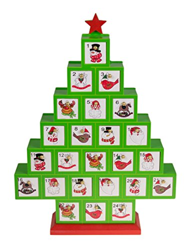 Christmas Tree 24 Day Wooden Advent Calendar | Premium Holiday Decor Painted Wood | Red and Green with Images of Santa, Snowman, Reindeer, Birds, and More | Measures 10.25