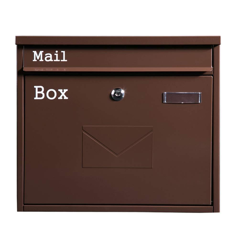 RMJAI メールボックス ホームメールボックス屋外防雨クリエイティブ壁掛けレターボックス屋外受信トレイヴィラ郵便ポスト (色 : ブラウン ぶらうん)  ブラウン ぶらうん B07RBQ97DH