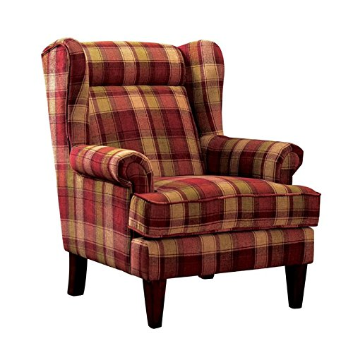 Furniture of America Henry Wingback Accent Chair in Red