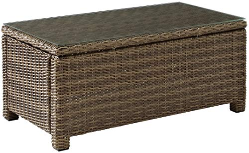 Glass Tops Wood Furniture - Crosley Furniture Bradenton Outdoor Wicker Conversation Table with Glass Top - Weathered Brown