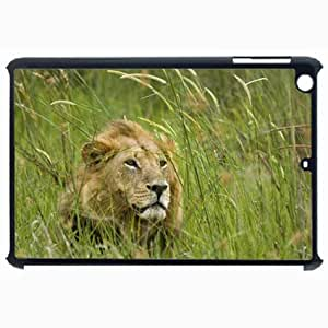 Customized Back Cover Case For iPad Air 5 Hardshell Case, Black Back Cover Design Lion Personalized Unique Case For iPad Air 5