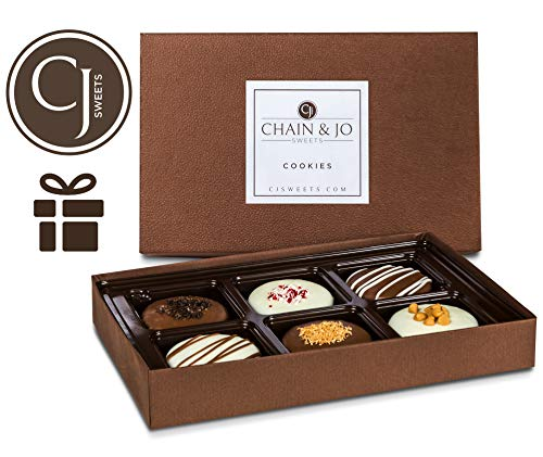 Chain & Jo Sweets Father's Day Chocolate Covered Cookies, Gift Box Assortment,Dairy Chocolate,6 Toppings, Gift Basket, Fathers Day Gift For Best Dad, Grandfather, Husband, Kosher