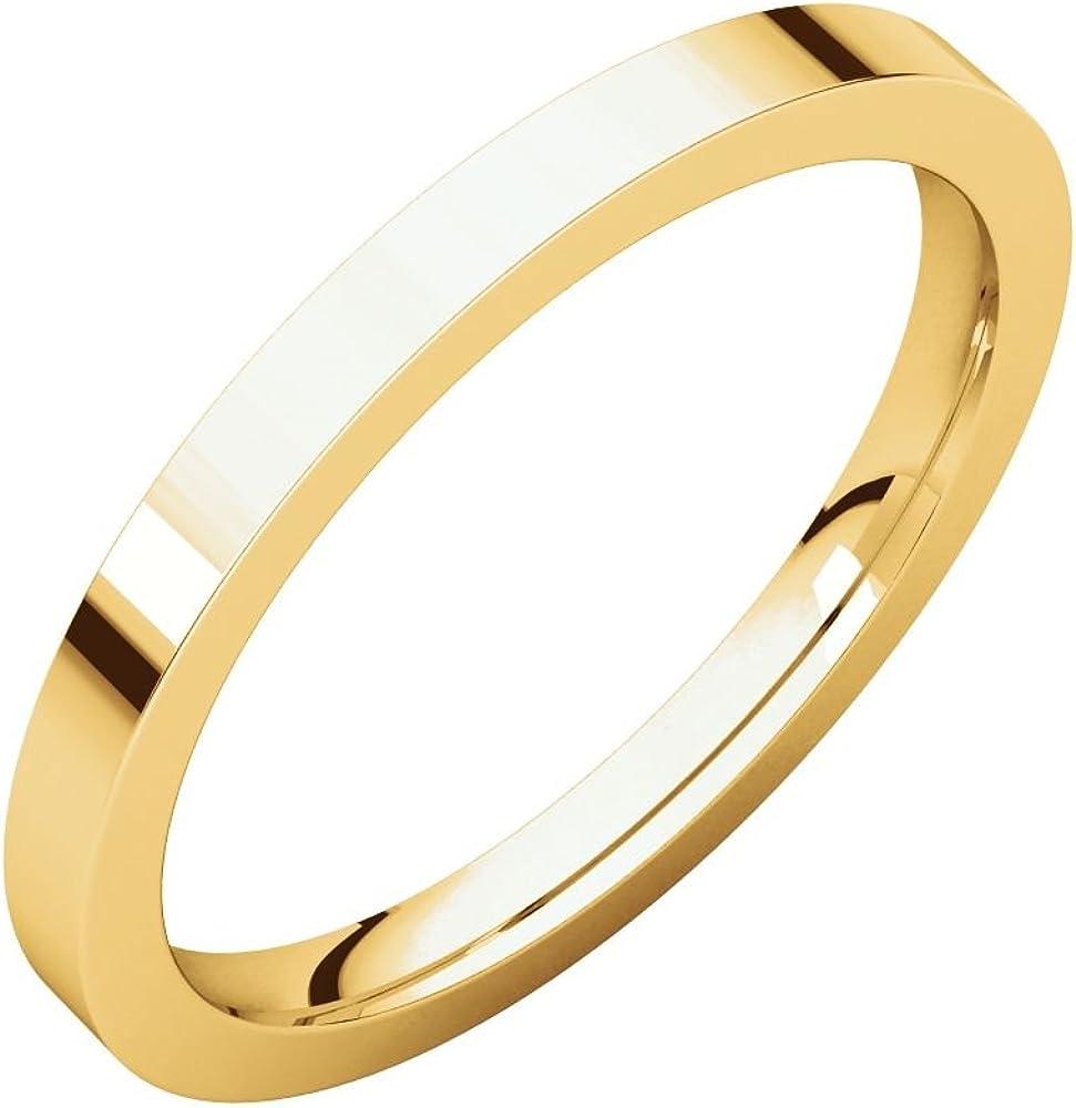 14K Yellow Gold 2mm Flat Comfort Fit Bridal Wedding Ring Band