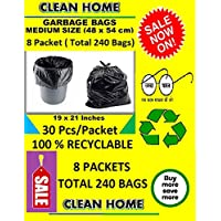 Clean Home® Garbage Bags Medium Size Black Color 19 X 21 Inch 240 Pieces