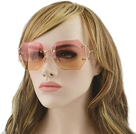 MINCL/Hot Oversized Rimless Sunglasses Women Clear Lens Eyewear