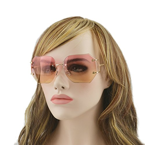 MINCL/2016 HOT RIMLESS SUNGLASSES WOMAN CLEAR LENS (gold, pinkyellow)