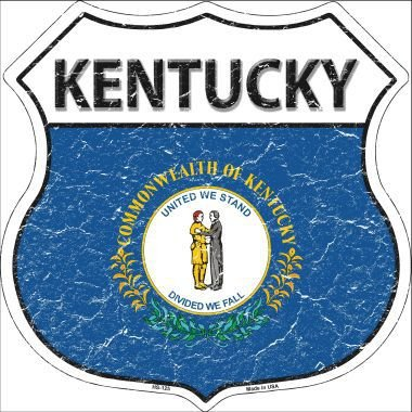 Kentucky State Flag Highway Shield Metal Sign HS-125