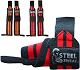 Steel Sweat Wrist Wraps - (2 Pairs / 4 Straps) for Weight Lifting, Crossfit, Powerlifting, Bodybuilding, Strongman - Premium Grade Heavy Duty to Extreme Strength for best wrist support when Weightlifting - Brace and Guard Your Wrists, 18 inches)