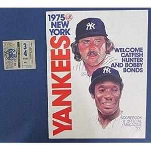 1975 New York Yankees Vs Tigers Official Program Scorecard w/Ticket Stubs 125595